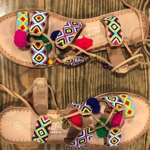 Chinese Laundry Pom Pom Lace Up Sandals